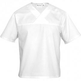 Rondón-neck biele krátky rukáv unisex l
