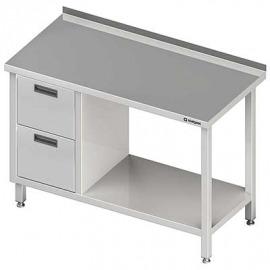 Stôl blok priečne s dvomi zásuvkami (L) a police 1200x700x850 mm