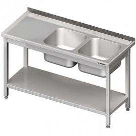 Stôl s umývadlom 2-com (P), s policou 1400x600x850 mm skrutka